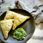 Vegetable Samosa Puffs with cilantro chutney