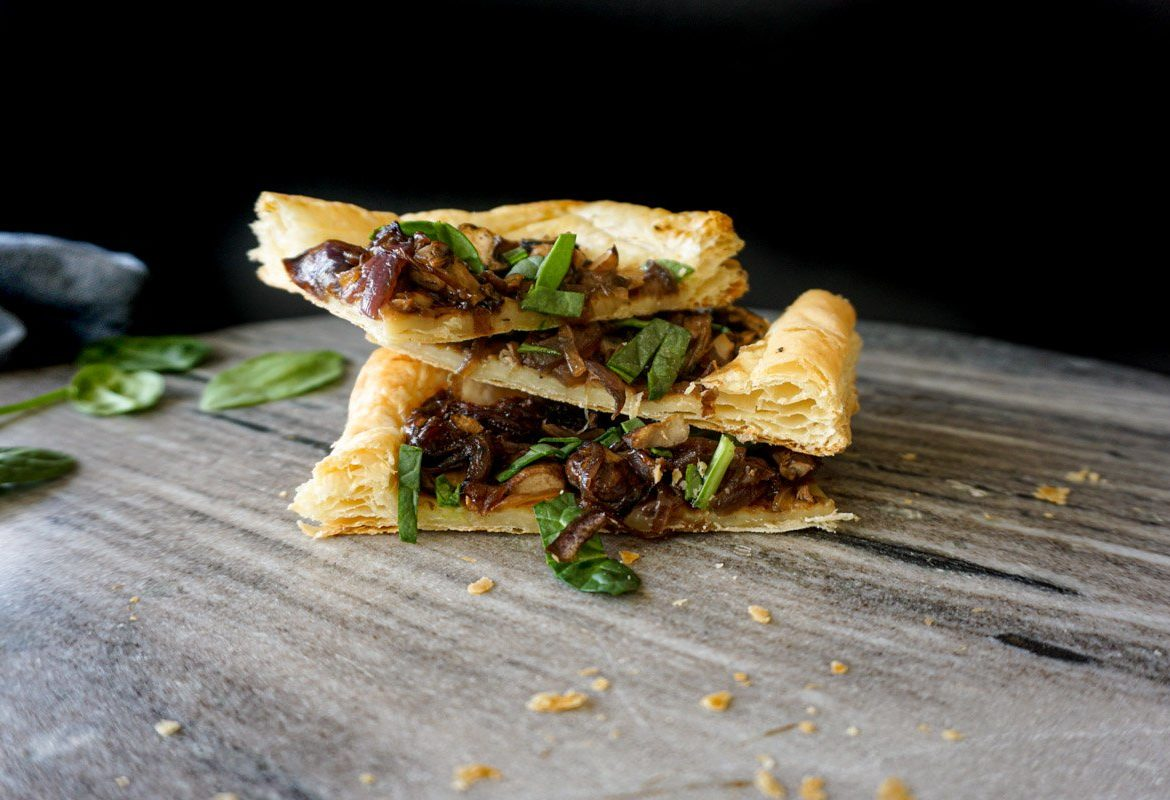 Mushroom and Caramelized Onion Tart Stacked