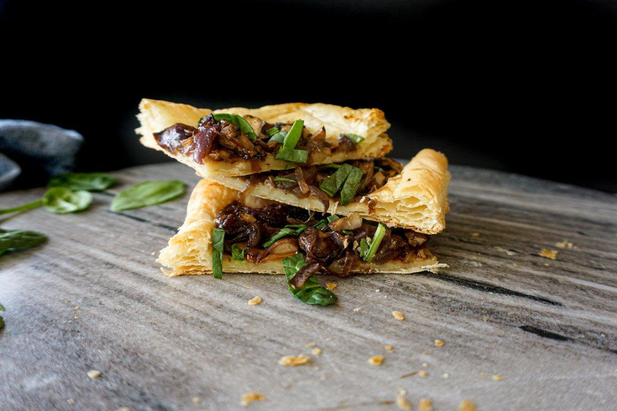 Mushroom and Caramelized Onion Tart Stacked