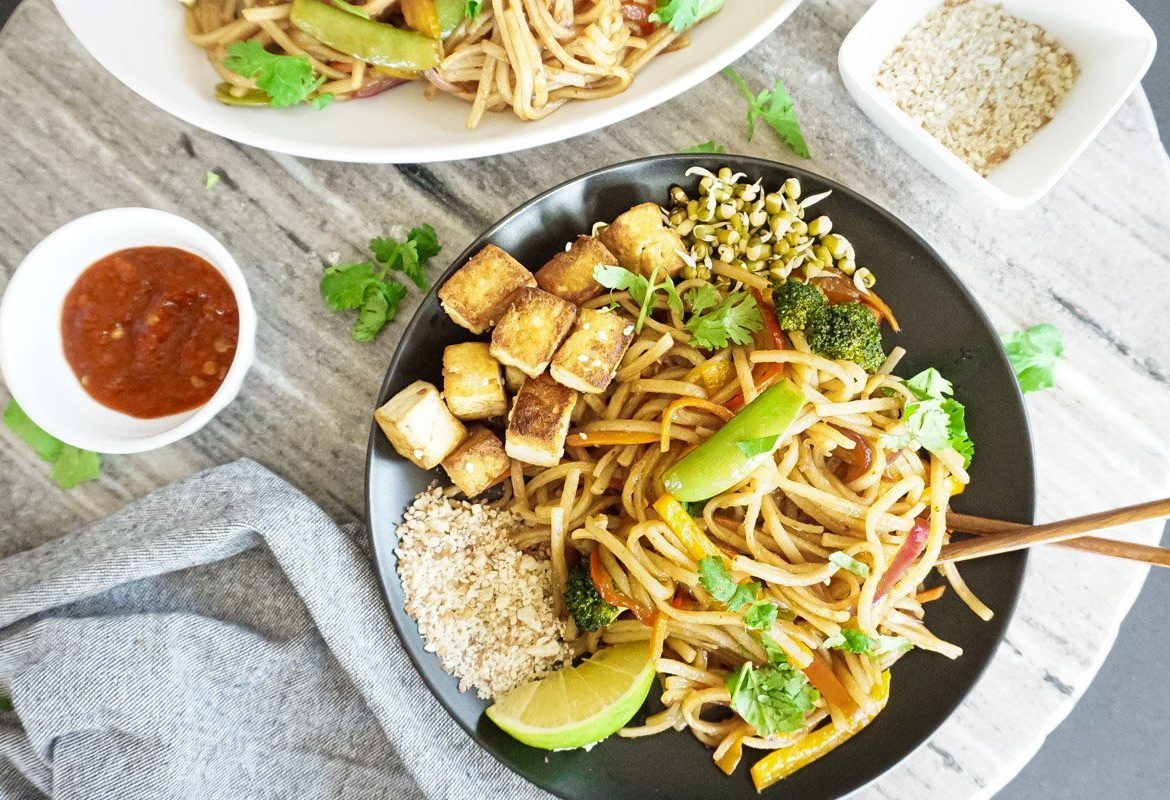 Vegetable Pad Thai with Marinated Tofu