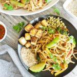 Vegetable Pad Thai with Marinated Tofu