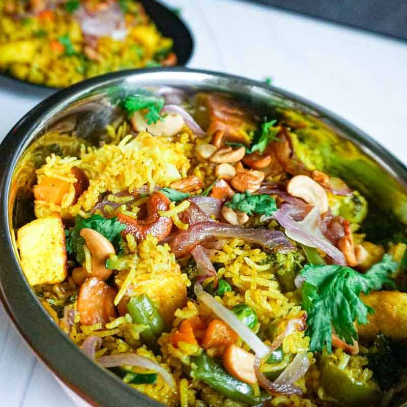 Instant Pot Biryani made with vegetables and paneer