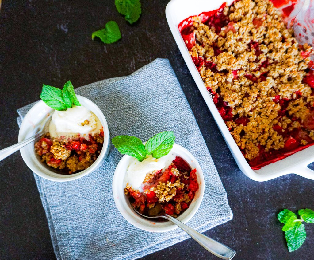 Strawberry Crisp in Ramekins with ice cream