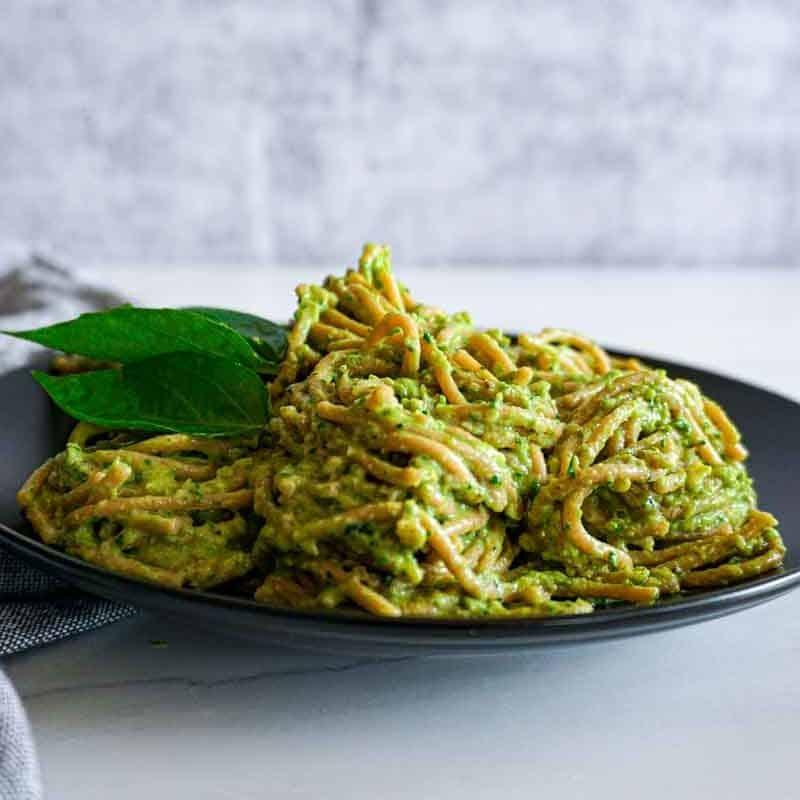 Plated Spaghetti with Avocado Spinach Pesto