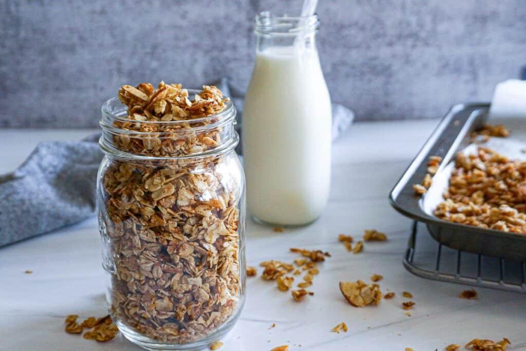 coconut almond granola and milk