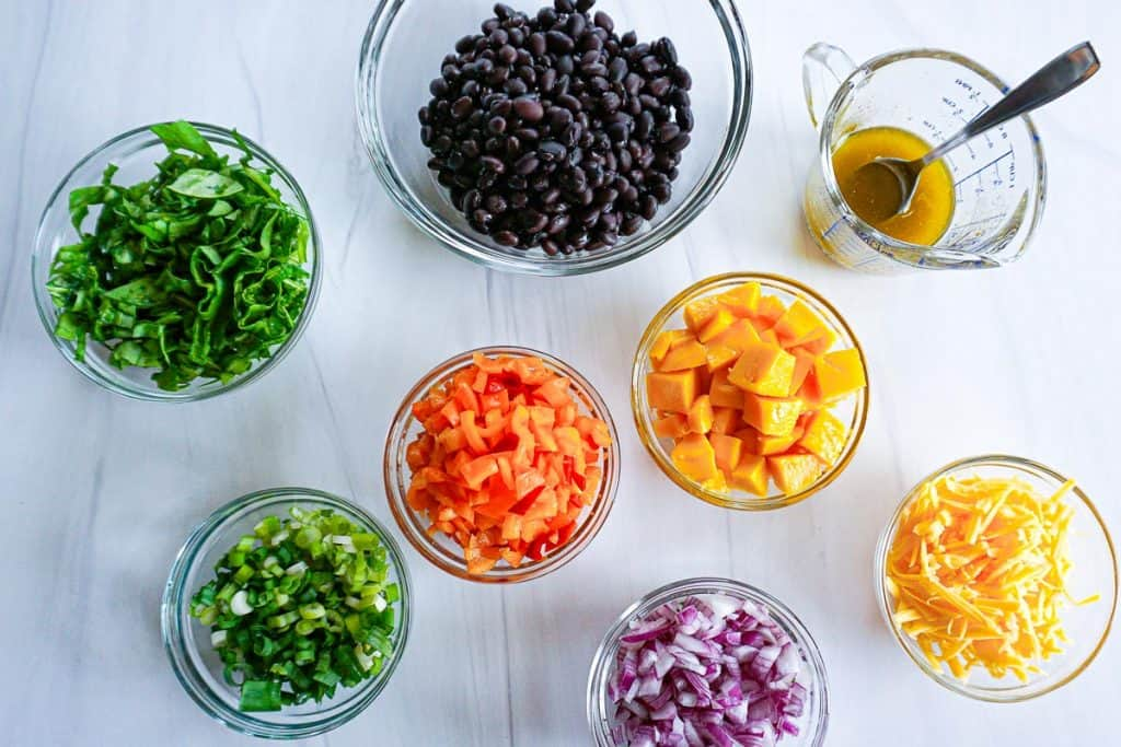 ingredients for black bean mango salad