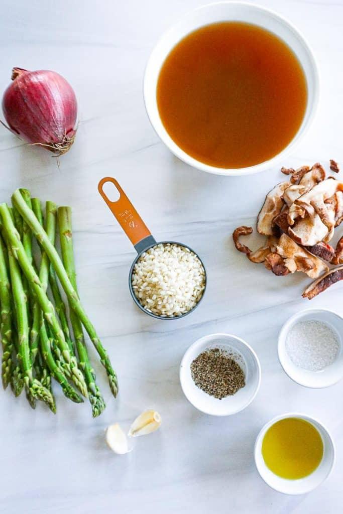 Vegan Mushroom and Asparagus Risotto Ingredients