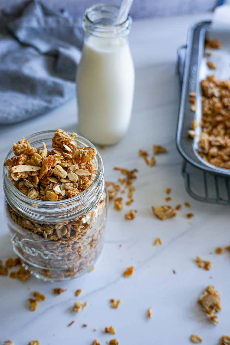 coconut almond granola with milk