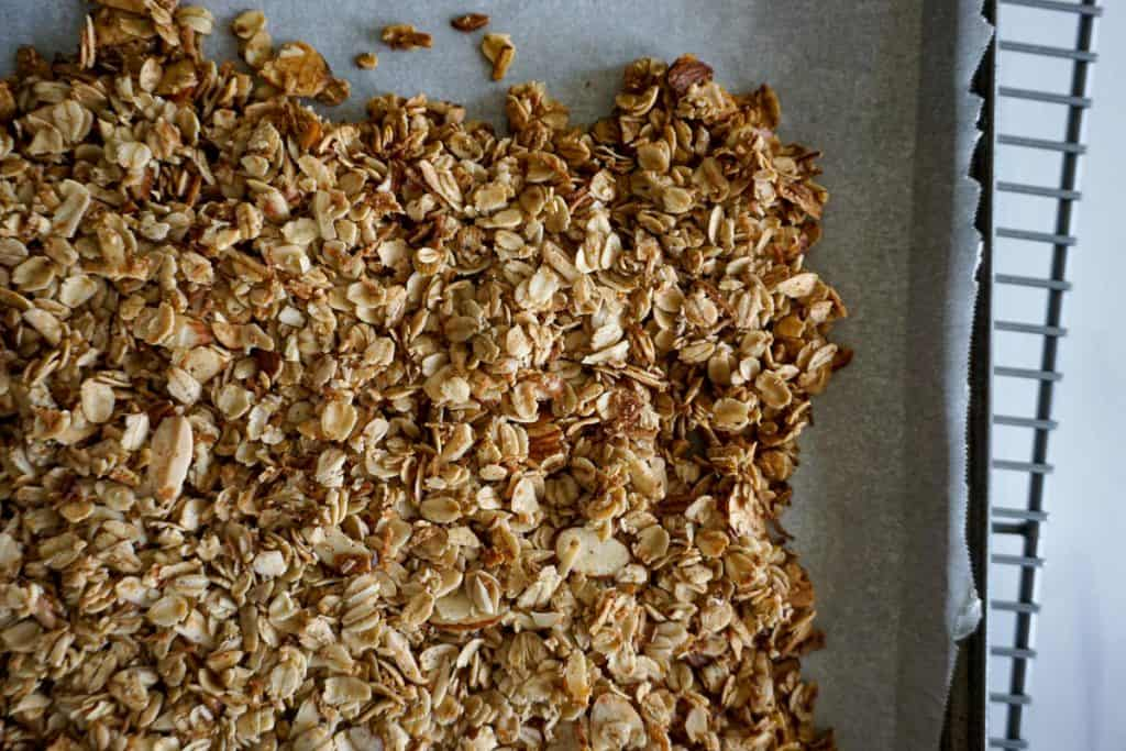 Coconut almond granola in a pan