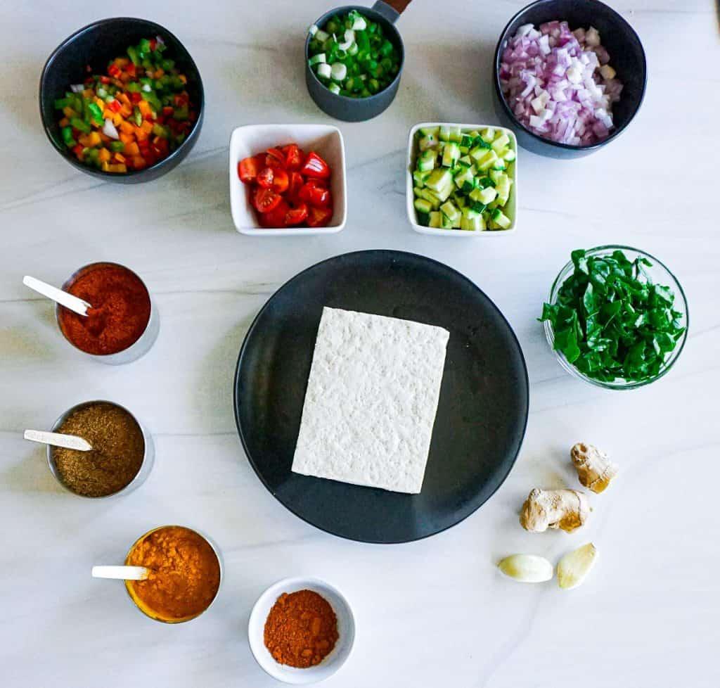 Masala Tofu scramble ingredients