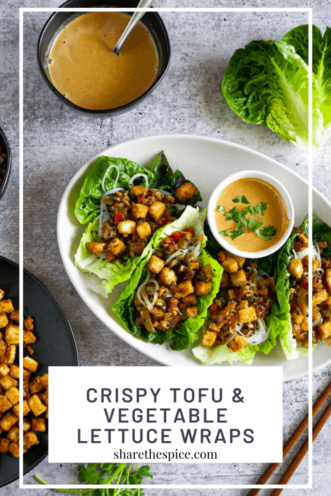 Tofu and Vegetable lettuce wraps with peanut sauce