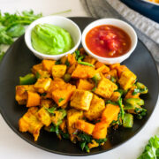 sweet potatoes with tofu breakfast hash with salsa and avocado cilantro dressing
