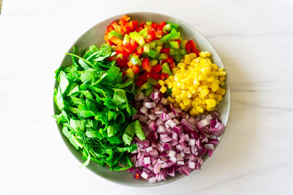 vegetables for crumbled tempeh quesadilla