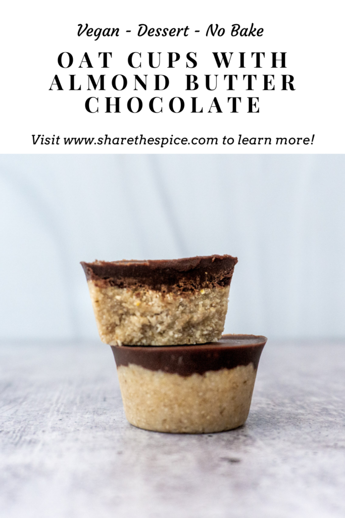 Oat Cups with Almond Butter Chocolate Pinterest Image