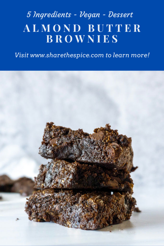 stacked almond butter brownies vegan