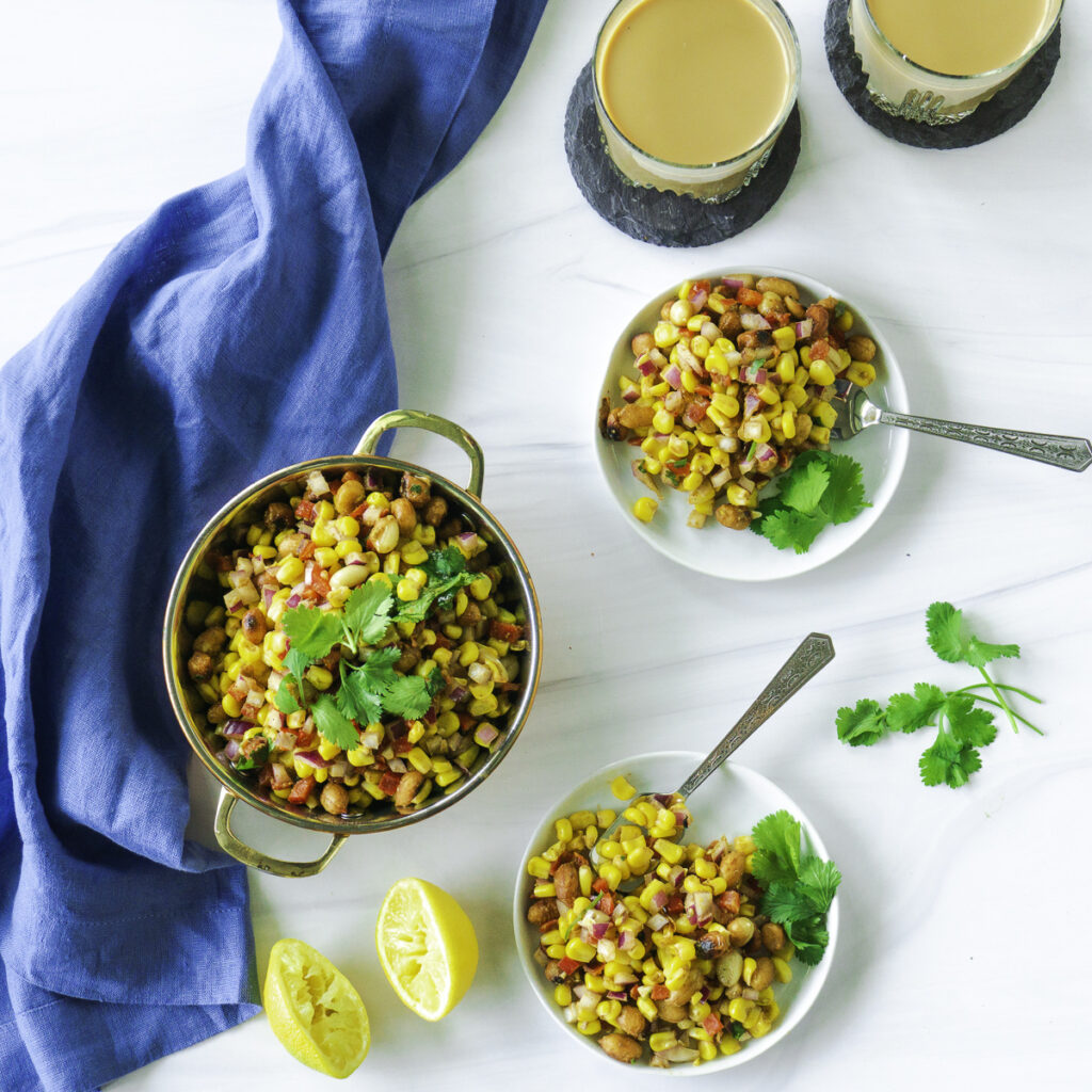 Corn Chaat with Peanuts served with Chai