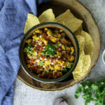 mango salsa served with chips