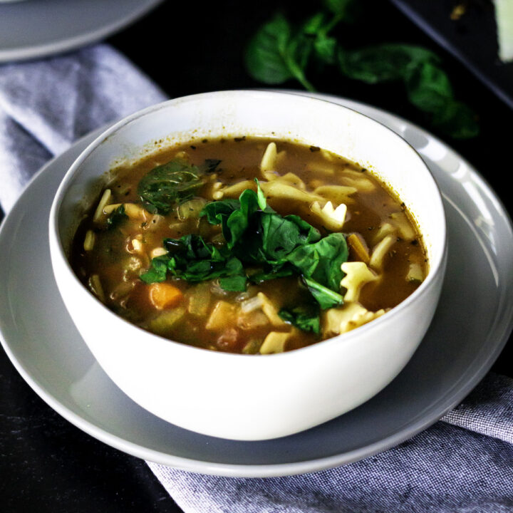 bowl of vegetarian minestrone soup