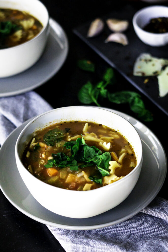 minestrone soup with pasta and vegetables